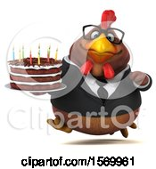 Poster, Art Print Of 3d Chubby Brown Business Chicken Holding A Birthday Cake On A White Background