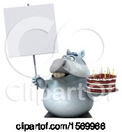Poster, Art Print Of 3d Chubby White Horse Holding A Birthday Cake On A White Background