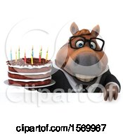 Poster, Art Print Of 3d Chubby Brown Business Horse Holding A Birthday Cake On A White Background