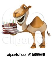 Poster, Art Print Of 3d Camel Holding A Birthday Cake On A White Background
