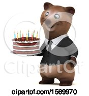 Poster, Art Print Of 3d Brown Business Bear Holding A Birthday Cake On A White Background