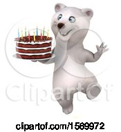 Poster, Art Print Of 3d Polar Bear Holding A Birthday Cake On A White Background