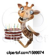 Poster, Art Print Of 3d Giraffe Holding A Birthday Cake On A White Background