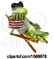 Poster, Art Print Of 3d Green Gecko Lizard Holding A Birthday Cake On A White Background