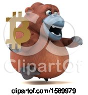 Clipart Of A 3d Orangutan Monkey Holding A Bitcoin Symbol On A White Background Royalty Free Illustration