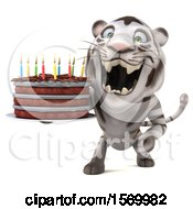 Poster, Art Print Of 3d White Tiger Holding A Birthday Cake On A White Background