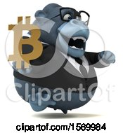 Clipart Of A 3d Business Gorilla Mascot Holding A Bitcoin Symbol On A White Background Royalty Free Illustration by Julos