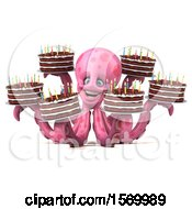 Clipart Of A 3d Pink Octopus Holding Birthday Cakes On A White Background Royalty Free Illustration