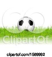 3d Soccer Ball In Grass Over White
