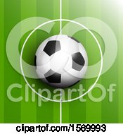 Clipart Of A 3d Soccer Ball In The Center Point Of Pitch Royalty Free Vector Illustration