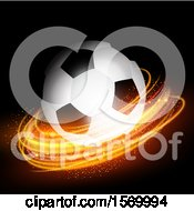 3d Soccer Ball And Glowing Lights