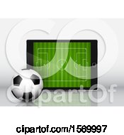 Clipart Of A 3d Soccer Ball Against A Tablet With A Pitch On The Screen Royalty Free Vector Illustration by KJ Pargeter