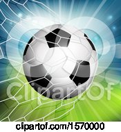 Clipart Of A 3d Soccer Ball Flying Into A Goal Net Royalty Free Vector Illustration