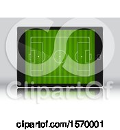 Clipart Of A 3d Soccer Field On A Tablet Screen Royalty Free Vector Illustration by KJ Pargeter