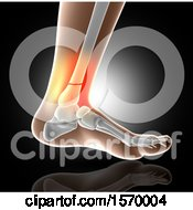 Clipart Of A 3d Closeup Of A Human Foot With Glowing Broken Ankle On Gray Royalty Free Illustration