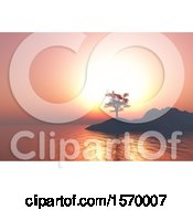 Clipart Of A 3d Silhouetted Island With A Tree At Sunset Royalty Free Illustration