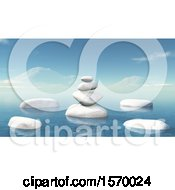 Clipart Of A Background Of 3d Zen Balanced Rocks And An Ocean Landscpe Royalty Free Illustration