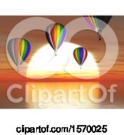 Clipart Of A 3d Ocean Sunset With Hot Air Balloons Royalty Free Illustration