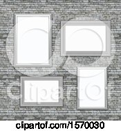 Clipart Of A Background Of 3d Blank Picture Frames On A Stone Wall Royalty Free Illustration