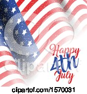 Clipart Of A Rippling American Flag And Text Royalty Free Vector Illustration