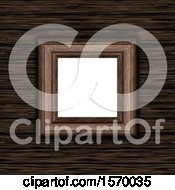 Clipart Of A 3D Blank Picture Frame On A Wooden Texture Background Royalty Free Illustration