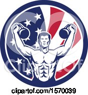 Clipart Of A Retro Male Bodybuilder Working Out With Kettlebells In An American Flag Circle Royalty Free Vector Illustration