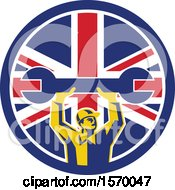 Clipart Of A Retro Male Mechanic Holding Up A Giant Wrench In A Union Jack Flag Circle Royalty Free Vector Illustration