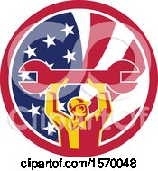 Poster, Art Print Of Retro Male Mechanic Holding Up A Giant Wrench In An American Flag Circle