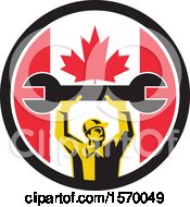 Retro Male Mechanic Holding Up A Giant Wrench In A Canadian Flag Circle
