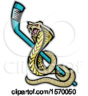 Clipart Of A King Cobra Sports Mascot With A Hockey Stick Royalty Free Vector Illustration by patrimonio