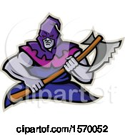 Clipart Of A Mascot Of A Hooded Medieval Executioner Holding An Axe Royalty Free Vector Illustration