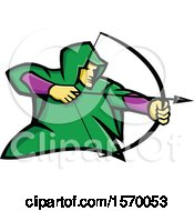 Clipart Of A Mascot Of Robin Hood Or A Medieval Archer Royalty Free Vector Illustration