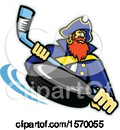 Clipart Of A Hockey Sports Pirate Mascot Holding A Stick With A Flying Puck Royalty Free Vector Illustration