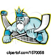 Hockey Sports Mascot Of Poseidon Holding A Stick With A Flying Puck