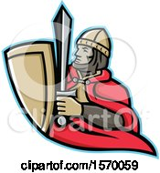 Clipart Of A Mascot Of A Medieval King Holding A Sword And Shield Royalty Free Vector Illustration
