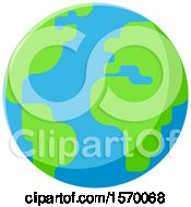 Clipart Of A Bright Green And Blue Earth Globe Royalty Free Vector Illustration