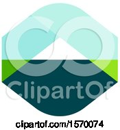Clipart Of A Green And Blue Abstract Mountain Design Royalty Free Vector Illustration