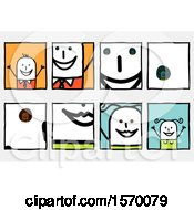 Poster, Art Print Of Zoomed In Sections Of Smiles Of A Stick Man And Woman