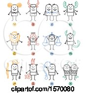 Clipart Of Horoscope Astrology Zodiac Stick People Royalty Free Vector Illustration
