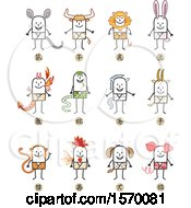 Clipart Of Stick Men In Chinese Zodiac Costumes Royalty Free Vector Illustration