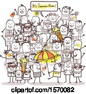 Clipart Of A Crowd Of People Celebrating Summer Time Royalty Free Vector Illustration