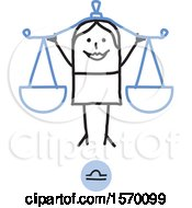 Libra Horoscope Astrology Zodiac Stick Woman As Scales