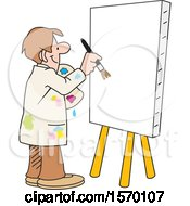 Clipart Of A Man About To Paint Art On A Blank Canvas Royalty Free Vector Illustration