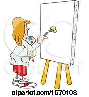 Clipart Of A Woman About To Paint Art On A Blank Canvas Royalty Free Vector Illustration