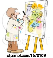 Clipart Of A Man Painting Art On Canvas No Picasso Royalty Free Vector Illustration