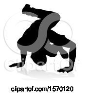 Silhouetted Male Hip Hop Dancer With A Reflection Or Shadow On A White Background