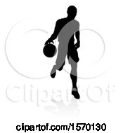 Poster, Art Print Of Silhouetted Basketball Player Dribbling With A Reflection Or Shadow On A White Background