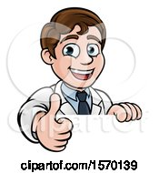 Clipart Of A Happy White Male Scientist Giving A Thumb Up Over A Sign Royalty Free Vector Illustration by AtStockIllustration