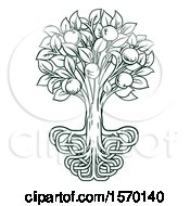 Clipart Of A Dark Green Apple Tree With Stylized Roots Royalty Free Vector Illustration