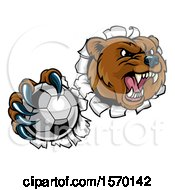 Clipart Of A Bear Sports Mascot Breaking Through A Wall With A Soccer Ball In A Paw Royalty Free Vector Illustration by AtStockIllustration